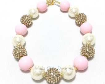 Toddler or Girls Pale Pink Chunky Necklace - Pink, Ivory and Gold Chunky Necklace - Princess Chunky Necklace - First Birthday Necklace