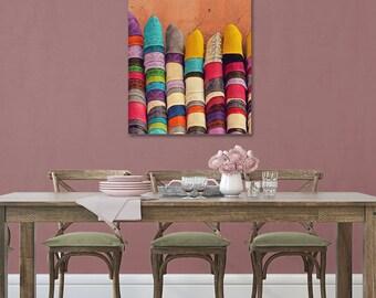 Babouches, Moroccan Home Decor, Large Canvas Print, Morocco Travel Photography, Canvas Art, Rainbow Art, Shoes, Ethnic Photo, Boho Wall Art