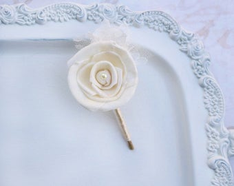 Wedding Accessory Flower // Ivory Sola Wood Rose, Wedding Corsage, Boutonniere, Pin On Corsage, Buttonhole, Bridal Accessory, Lace, Tulle