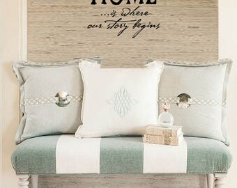 FAMILY Wall Quotes Decal - HOME is where our story begins - Vinyl Wall Art Sayings