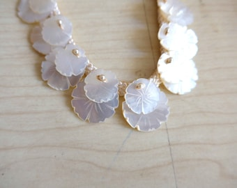 SALE - Amazing French Vintage 1950's Mother of Pearl Necklace, Carved Flowers - Pin-Up Style