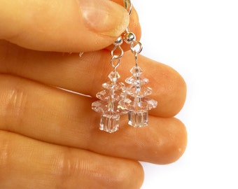 Dangly Christmas Earrings, Novelty Christmas Tree Earrings, Clear Crystal Earrings, UK Gifts For Her