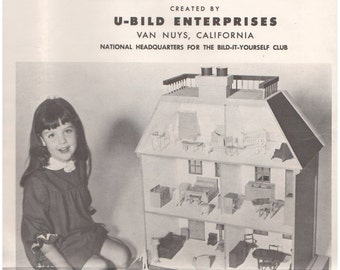 1960s - U-Bild Enterprises Open Back Doll House Pattern No. 411 Woodworking Plans Gift Heirloom Toy Girl Child Kids Pretend Handmade