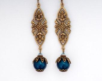 Teal Swarovski Crystal Pearls, Teal Pearl Earrings, Teal Earrings Dangle, Drop Earring Ornate, Antiqued Brass Earring, Teal Jewelry, Fabiola