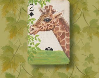 Giraffe original art ACEO. Altered vintage playing card, the 2 of Spades with a miniature painting of April the Giraffe. Proceeds to charity