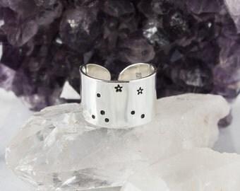 Libra Zodiac Constellation Ring. Zodiac jewelry. Libra birthday gift ring. Zodiac ring. Sterling Silver or Aluminum Constellation ring RTS