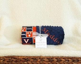 Virginia Baby Blanket Boy Gift College University Name Minky Football PERSONALIZED Kansas Florida Georgia Texas