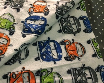 VW Beetle, Cars, Receiving Blanket, Vans, VW Van, Baby Blanket, Automobiles, Reversible Blanket, Flannel