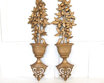 Vintage mid century Homco potted plant Citrus tree large pair of wall hangings art boho home decor retro hollywood regency