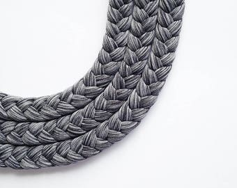 Choker, necklaces, tribal necklaces - The textured triple braid necklace - handmade in grey fabric - limited edition
