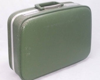 Vintage 1950 Overnighter Bag in Avocado Green with embroidered interior and mirror - Fancy Shmancy