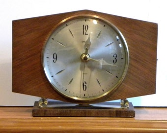 Smiths Clock - Recycled Vintage Clock- Mantel Shelf Battery Clock