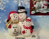 Pregnant Snowman Family 1 Child with Optional Dog/Cat Christmas Ornament
