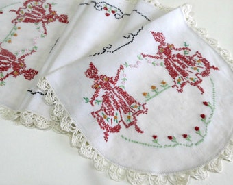 Embroidered Table Runner or Dresser Scarf, Dancing Crinoline Ladies in Dusty Red and Green, Lace Trim Vintage Linens by TheSweetBasilShoppe
