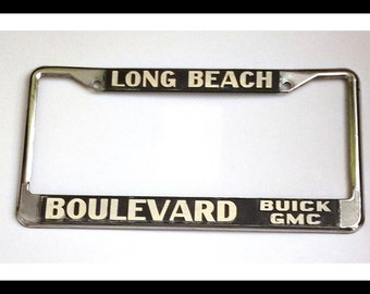 vintage long beach boulevard buick gmc license plate frame california car dealership gmc memorabilia blvd vintage advertising