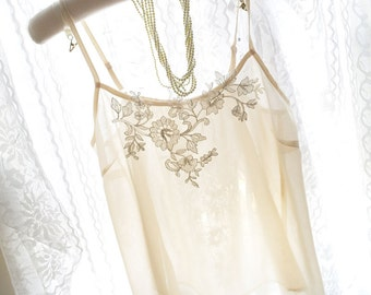 Romantic Lace Detail Motif Sheer Beige Chiffon Blouse Camisole Cami Spaghetti Strap Lingerie Sexy