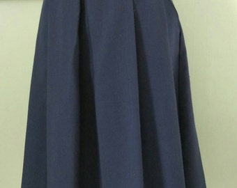 1980's Vintage Michele brand Dark Blue Front Pleated Skirt