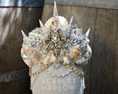 Mermaid Crown - Shell Crown - Festival Crown - Bridal Crown - Bridal Headpiece - Mermaid Costume. READY TO SHIP