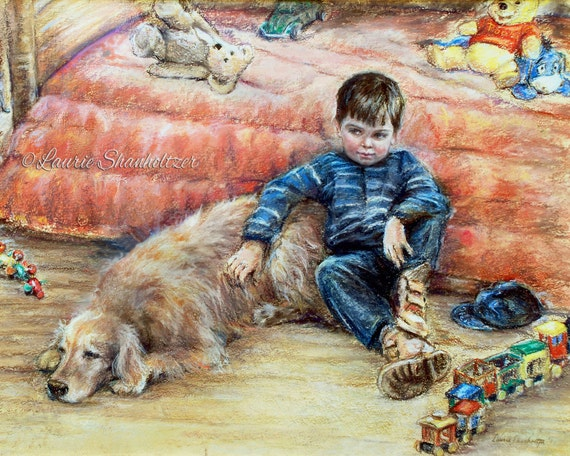 "Boy dog Children childhood Art Print best friend ""I Can Tell You Anything"" Laurie Shanholtzer Canvas or art paper print,"