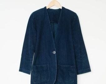 Vintage Women's Blue Denim Jacket Blazer 70's 80's Small Medium UK 10 12