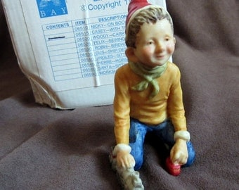 Whitley Bay Elf Collection 1989 Christmas Figurine Casey Collectible Vintage Holiday Decoration