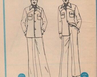 Mens 70s Shirt-Jac & Pants Pattern McCalls 4793 Size 36 Uncut