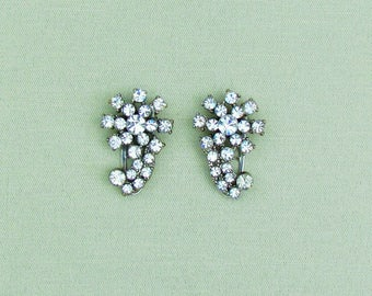 Pair of vintage rhinestone dress clips, 1930's dress clips