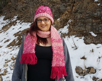 Pink Crochet Matching Hat Scarf Set, Warm Winter Set, Hat and Scarf For Her, Pink Scarf, Pink Hat, Warm Winter Accessories, Gifts for Her
