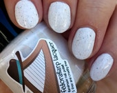 Comfy Cozy (mini size & full size)- White crelly flakie indie polish by Fedoraharp Lacquer
