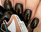 The World Turned Upside Down (mini size & full size)- Black crelly multichrome flakie indie polish by Fedoraharp Lacquer