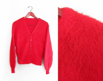 vintage cardigan / grandpa cardigan / mohair / 1960s red fuzzy mohair grunge cardigan Small