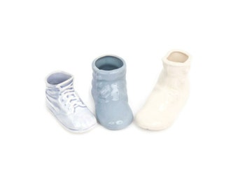 Vintage Porcelain Booties Miniature Shoes Lot Set of 3 Planters Blue and Ivory Baby Booties Shower Gift Nursery Decor Little Bisque Shoes