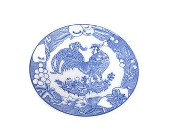 Vintage Asian Rooster Plate Blue and White Chinese Porcelain Signed 9 Inch Dinner Plate Appetizer Dish