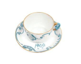 Antique JHR BAVARIA Demitasse Teacup Saucer Fine White Porcelain Aqua Blue 1900 Hand Painted 22KT Gold Trim Rare German Tea Cup Cabinet
