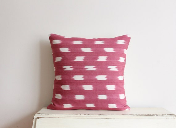 "SALE - Pink and cream ikat pillow cushion cover 20"" x 20"""