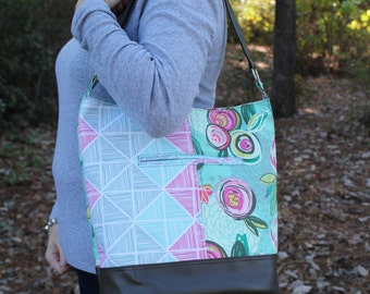 Bucket Handbag--Hobo Style--Shoulder Bag--Mint Floral Geometric Sketch--Women's Accessories--Swoon Bonnie