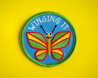 Winging It Patch, Funny Iron On Patch, Butterfly Patch, Cute Insect Patch, Summer Patch, Fun Embroidered Patch, Jacket Patch, You Got This
