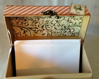 Altered Christmas Card Box, Card Keeper Box, Altered Christmas Recipe Box, Decorative Box, Mixed Media Box, Altered Container, Holiday Box