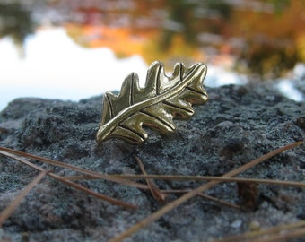 Gold Oak Leaf Lapel Pin- Nature, Hiking, Tree, and Foliage Pins