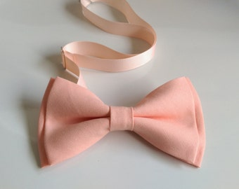 Adult/Kid Peach bow tie with pre-folded hanky set