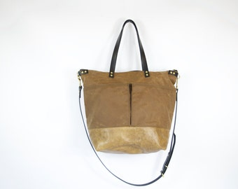 Waxed Canvas and Leather Diaper Bag / work travel tote  -  LEWIS - Hickory Colour Waterproof Waxed CANVAS top and LEATHER base carry all