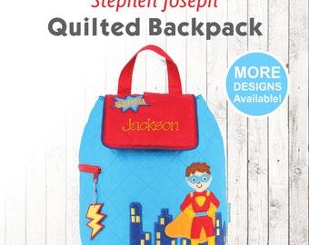 Personalized Super Hero Backpack, Stephen Joseph Quilt Backpack, Embroidered Childrens Backpack, Monogram Name, Preschooler Hero Backpack