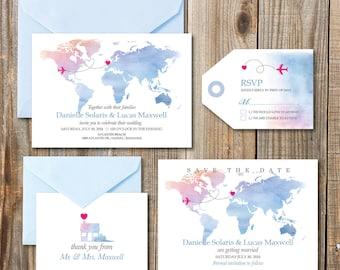 Destination Wedding Invitation printables, beach wedding, Map invitation, Customized DIY wedding, watercolor wedding invitation