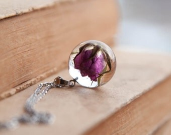 Rose bush flower necklace - gift for mom - real wild rose for gardener - love symbol gift - gardening and floriculture