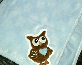 Baby Boy Owl Minky Blanket Blue Brown Personalized Ready to Ship