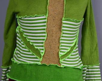 Up-cycled Coral Stripe Sweater M, Wool free, Vegan, Ready to Ship,UK Seller, Ship Worldwide.
