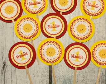 LITTLE SUNSHINE Happy Birthday or Baby Shower Cupcake Toppers Set of 12 {One Dozen} Yellow Red