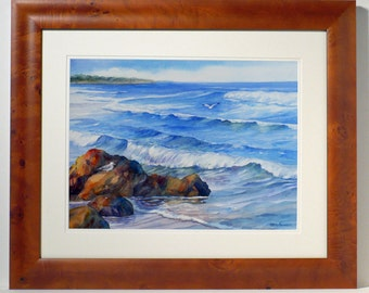 Maine Coast framed original watercolor seascape painting Marginal Way Ogunquit New England 20x24 inch coastal art by Janet Zeh