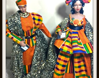 Black Dolls, Black Art, African American Art Dolls, Husband and Wife Couple Dolls, Black History Month Celebration, Kwanzaa Home Decor