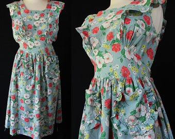 1930s 40s Pinafore Dress, Sundress, Housewife, Pin Up, Rockabilly